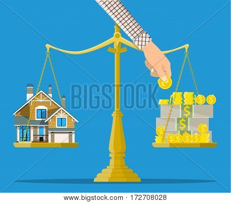 Scales with house and money. Buying a home. Real estate. Vector illustration in flat style