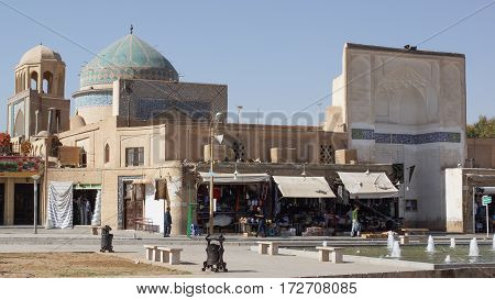 YAZD, IRAN - OCTOBER 9, 2016: Amir Chaqmaq Mosque, one of the sights of Yazd on October 9, 2016 in Iran, Asia