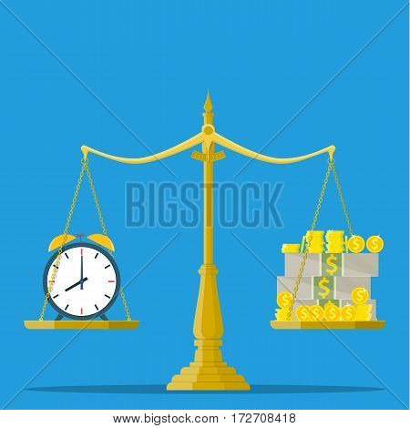 Scale weighing money and clock. time is money, financial concept. illustration in flat design.