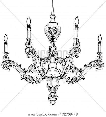 Vintage Baroque Elegant chandelier. Vector Luxury Royal Rich Style decoration. Classic lamp illustration sketch