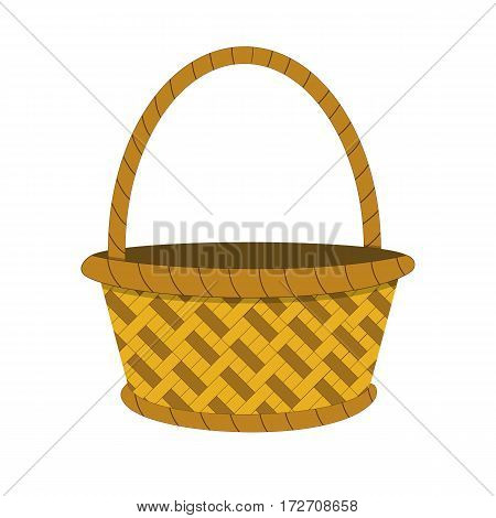 Wicker basket icon, empty wicker basket illustration, vector illustration in flat design .