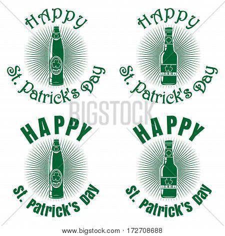 Bottles of different shapes of beer on a background of diverging rays and greeting inscription. Happy St. Patrick's Day. Vector green retro icons isolated on white background