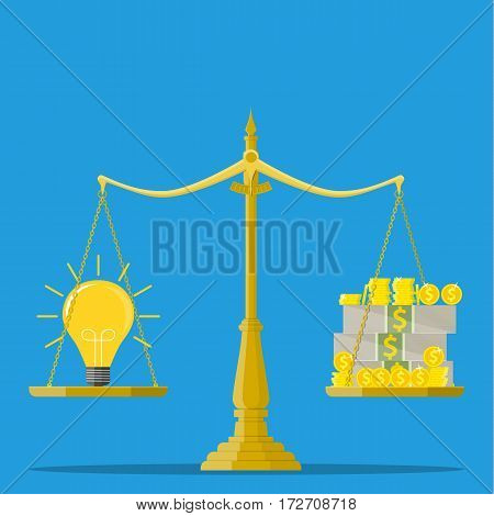 Idea and money stack balance on libra. Idea is money concept. Investment in an idea. Vector illustration in flat style