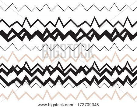 Seamless geometrical pattern. Minimalist modern style. Abstract mountains. Zigzag. It is black white and nude colors.