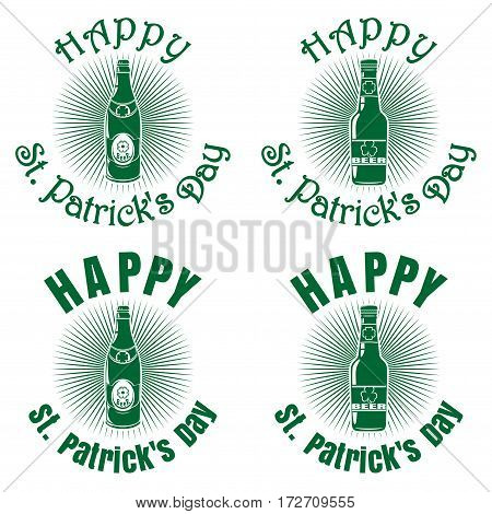 Bottles of different shapes of beer on a background of diverging rays and greeting inscription. Happy St. Patrick's Day. Vector green retro icons isolated on white background. Set 2