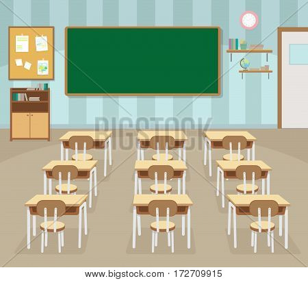 School classroom with chalkboard and desks. Class for education board table and study blackboard and lesson.