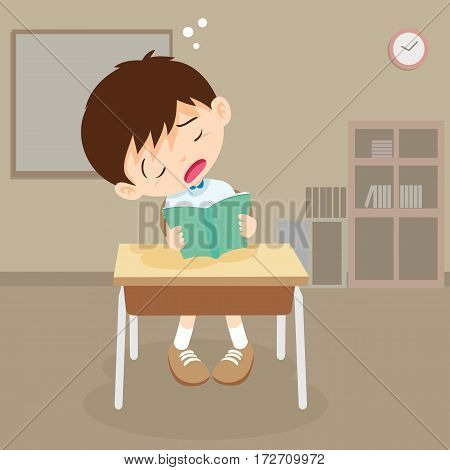 Student Boy Read A Book But Sleeping In Classroom