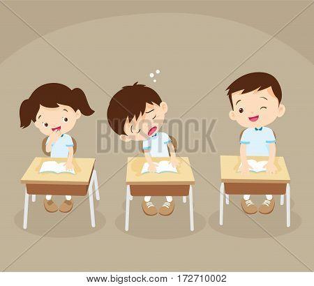 Student Boy Sleeping In Classroom