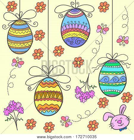 Doodle of easter egg with flower design vector flat