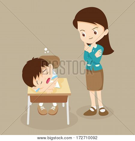 Teacher Stands Looking At The Student Boy Sleep.