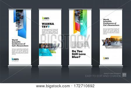 Abstract business vector set of modern roll Up Banner stand design template with many colourful rectangles, stripes for exhibition, show, exposition, expo, presentation, parade, events.