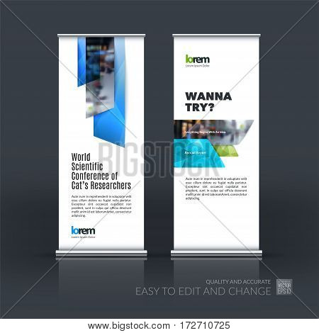 Abstract business vector set of modern roll Up Banner stand design template with many blue rectangles, stripes for exhibition, show, exposition, expo, presentation, parade, events.