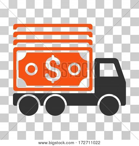 Cash Lorry icon. Vector illustration style is flat iconic bicolor symbol orange and gray colors transparent background. Designed for web and software interfaces.