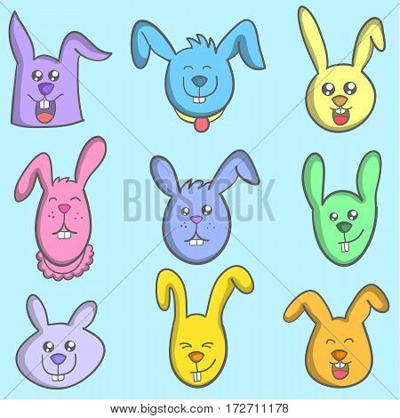 Set of bunny colorful vector art collection stock