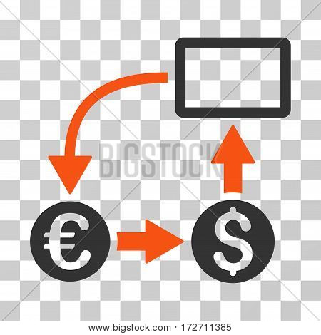 Cashflow Euro Exchange icon. Vector illustration style is flat iconic bicolor symbol orange and gray colors transparent background. Designed for web and software interfaces.