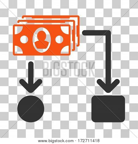 Cashflow icon. Vector illustration style is flat iconic bicolor symbol orange and gray colors transparent background. Designed for web and software interfaces.
