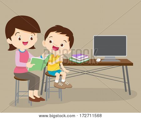 Child listening his mother read a stor