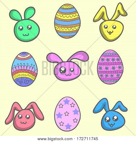 Set of easter egg and easter bunny vector art