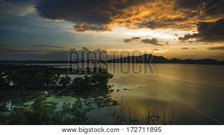 beautiful scenic of bang pra water reservoir chonburi eastern of thailand