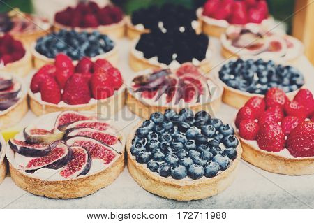 Fruit and berry tarts dessert tray assorted outdoors. Closeup of beautiful delicious pastry sweets with fresh natural blueberries and figs. French Bakery catering. Filtered, shallow depth of field
