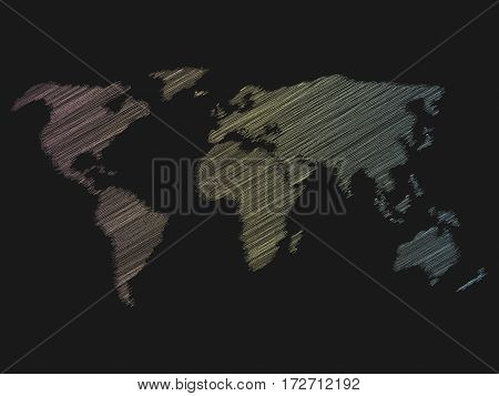 Multicolor chalk scribble sketch map of World on dark school clasroom blackboard. Hand doodle drawing. Vector illustration.