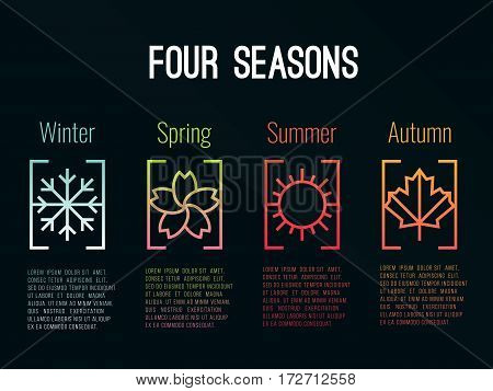 4 seasons icon sign in border gradients with Snow Winter Flower Spring Sun Summer and maple leaf Autumn vector design