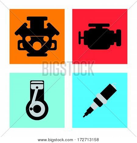 Set Of Service Car Flat Icon On White Background.vector Illustration.