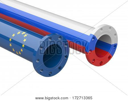 Russia - Europe gas crisis concept. 3d illustration isolated on a white background.