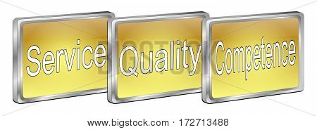 golden Service Quality Competence Button - 3D illustration
