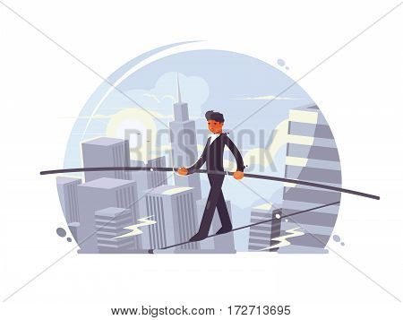 Tightrope walker going on rope with stick between skyscrapers. Vector illustration