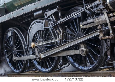 Close up shot of the driving wheels of a Steam Engine