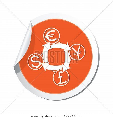 Sticker with money exchange icon. Vector illustration