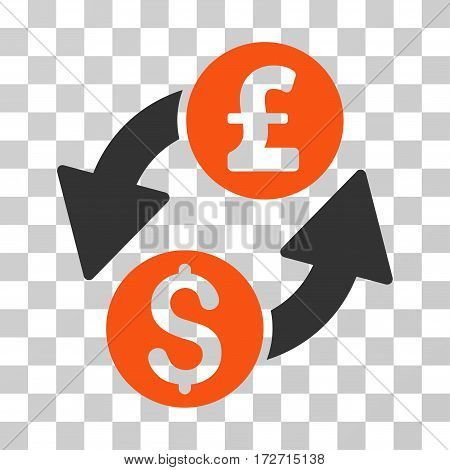 Dollar Pound Exchange icon. Vector illustration style is flat iconic bicolor symbol orange and gray colors transparent background. Designed for web and software interfaces.