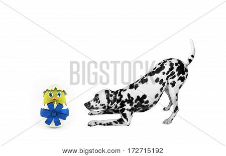 Cute Easter dog with egg chicken isolated on white background