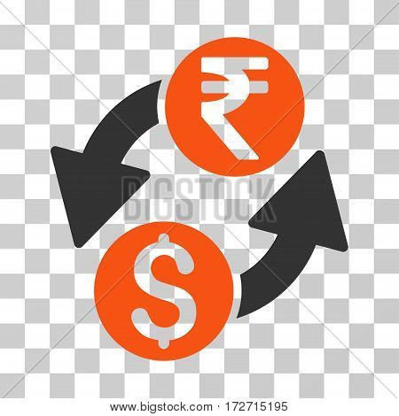 Dollar Rupee Exchange icon. Vector illustration style is flat iconic bicolor symbol orange and gray colors transparent background. Designed for web and software interfaces.