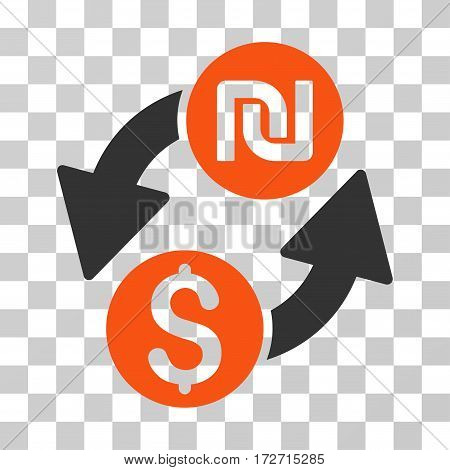 Dollar Shekel Exchange icon. Vector illustration style is flat iconic bicolor symbol orange and gray colors transparent background. Designed for web and software interfaces.