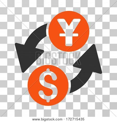 Dollar Yuan Exchange icon. Vector illustration style is flat iconic bicolor symbol orange and gray colors transparent background. Designed for web and software interfaces.