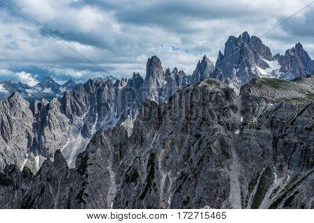 famous Italian National Park Tre Cime di Lavaredo. Dolomites, South Tyrol. Auronzo