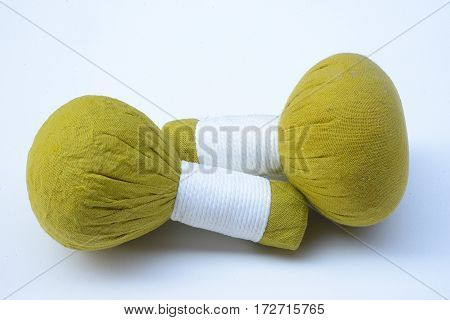 herbal compress balls for spa treatment on white background