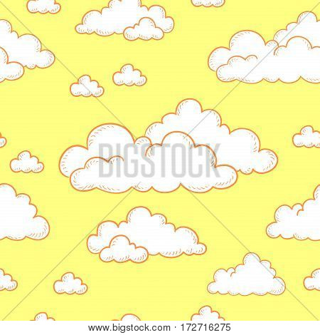 Seamless doodle pattern. Cartoon white clouds on a yellow background. Vector illustration.