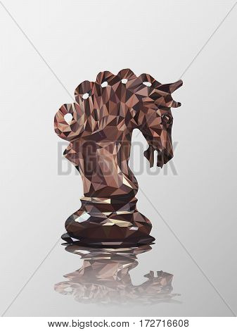 Low poly 3d design of knight chess piece. Vector triangulation with reflection.