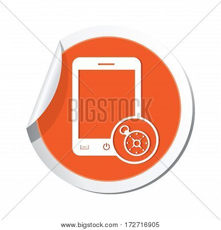 Phone with navigation icon on the sticker. Vector illustration