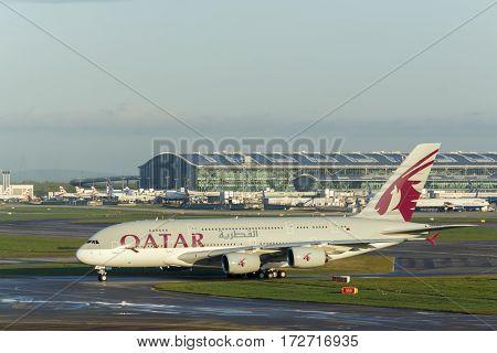 LONDON, UK - CIRCA 2016: Qatar Airways Airbus A380 Taxiing at Heathrow Airport