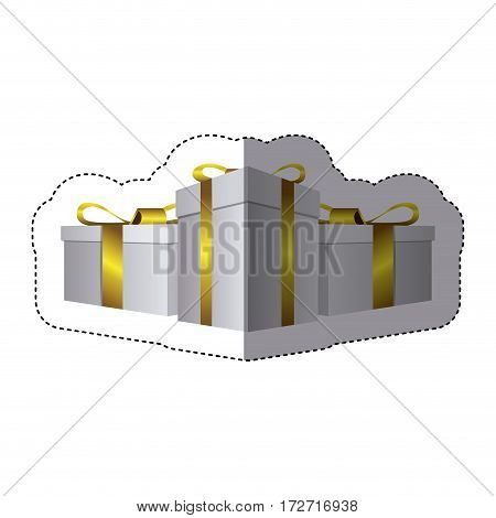 color sticker silhouette with set of gift boxes vector illustration