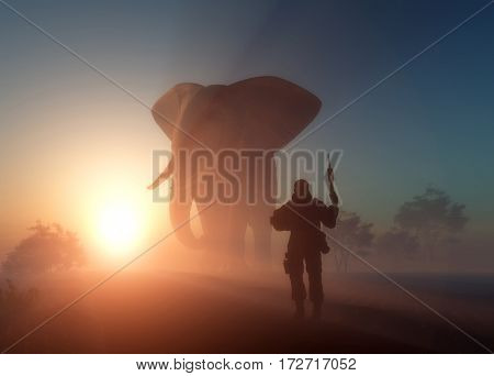 Man with arms and an elephant in the fog.,3d render