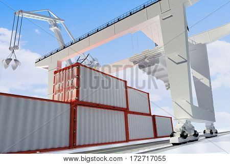 Equipment at the port.,3d render