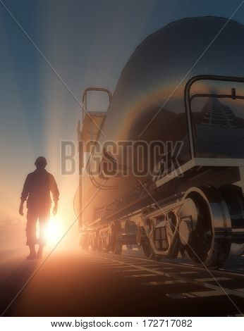 Silhouette of the worker and the tank in the fog.,3D render