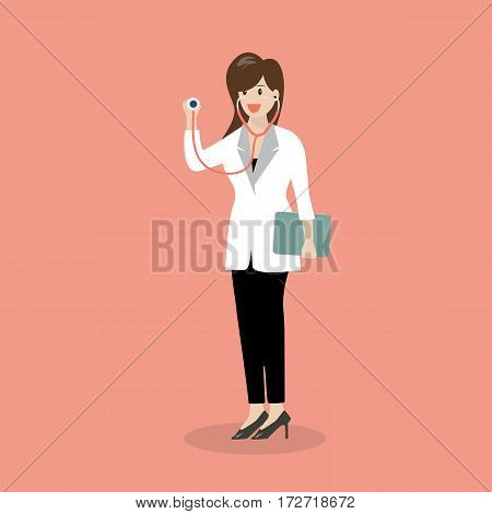 Female doctor holding stethoscope. Vector illustration character