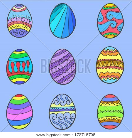 Set of easter egg various collection vector art