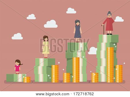 Woman with retirement money plan. Vector illustration